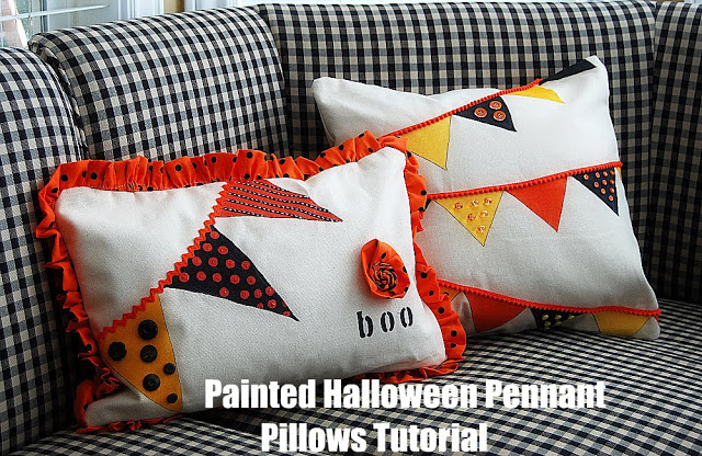 Painted Halloween Pennant Pillow Tutorial