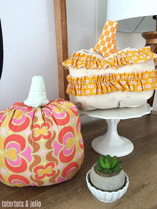 How to make fabric ruffled pumpkins for fall A step-by-step tutorial on pumpkins you will love displaying for years! Make them in ANY fabric to match YOUR home!