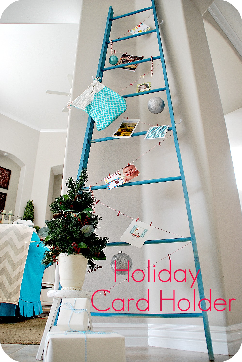 Make a diy holiday ladder to display cards or advent calendars make a diy holiday ladder to display cards or advent calendars christmas tutorial tatertots and jello solutioingenieria Image collections