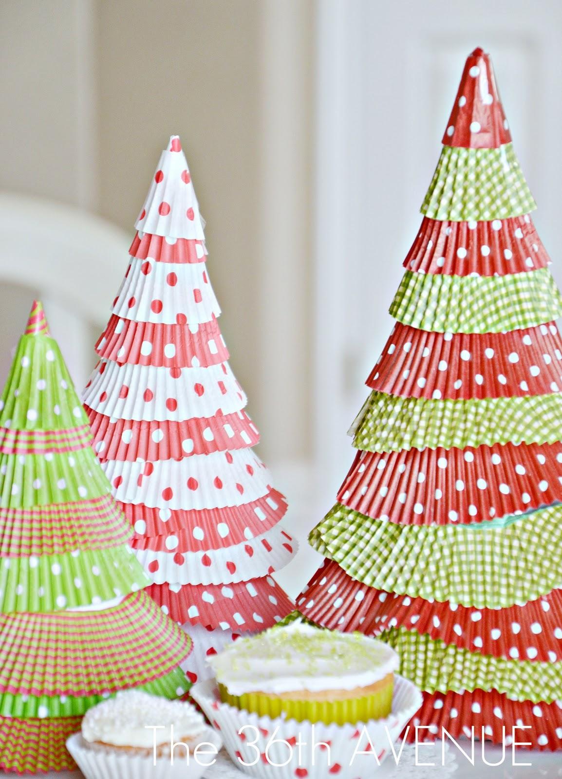 Make cupcake liner christmas trees holiday tutorial tatertots and jello - Bastelideen pinterest ...