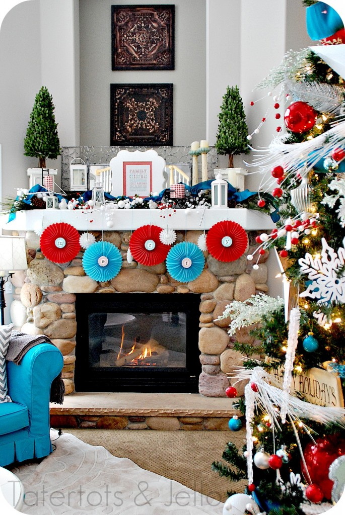 spreading holiday cheer through decorating my holiday home tatertots and jello - Red White And Turquoise Christmas Decor