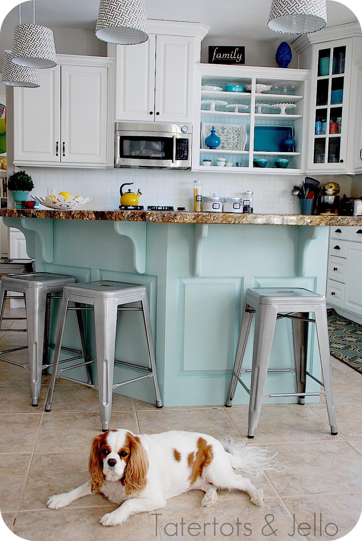 Aqua And White Kitchen Reveal Tatertots And Jello