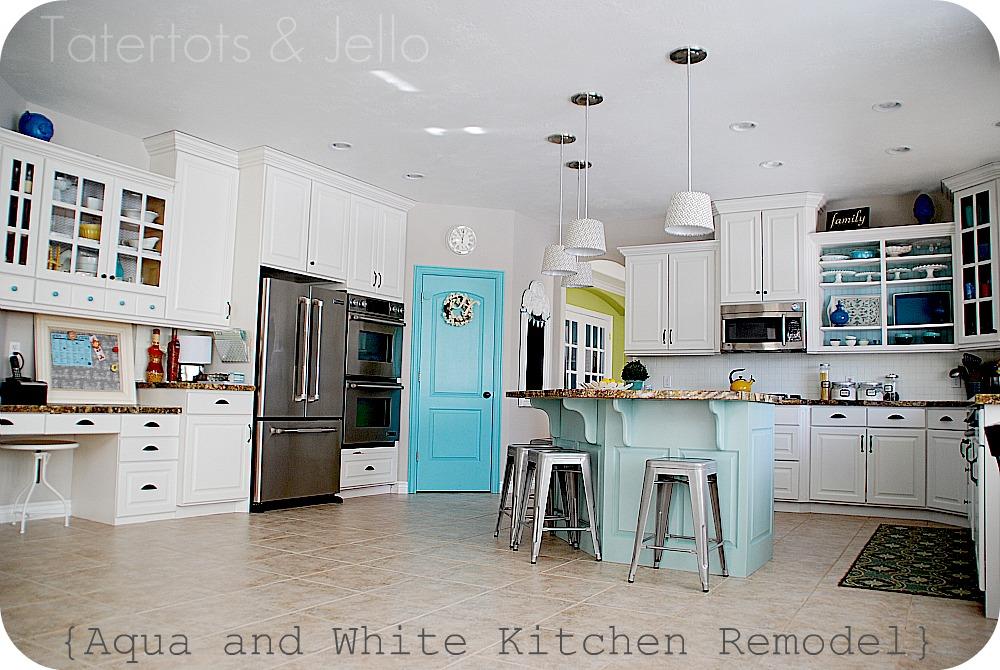 Aqua and White Kitchen Reveal!!  Tatertots and Jello