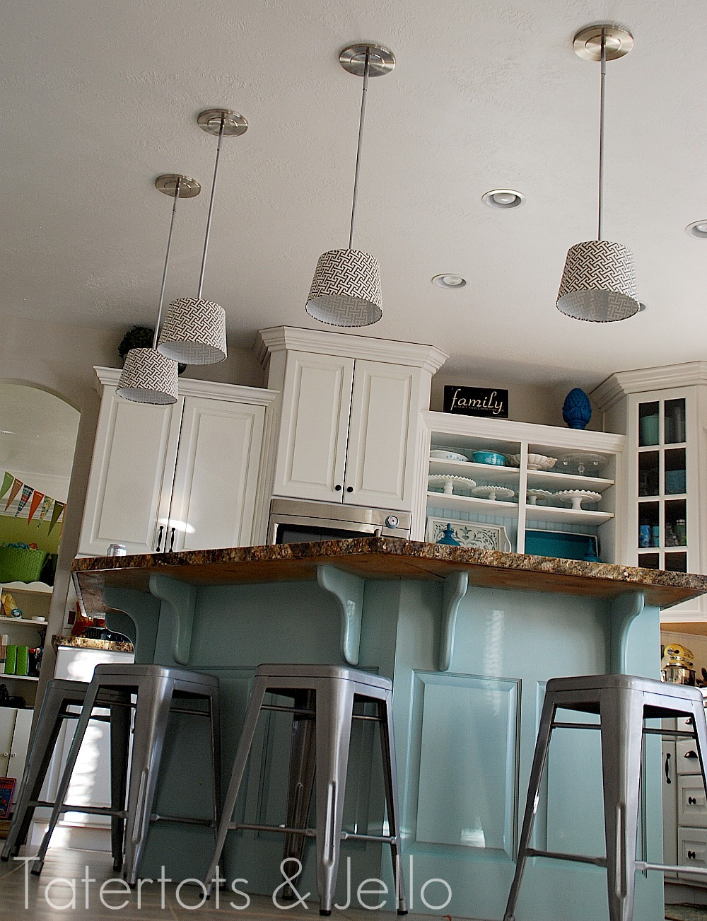 Make diy pendant lights kitchen remodel project tatertots and jello - Diy kitchen lighting ...