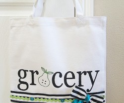 stenciled grocery bag