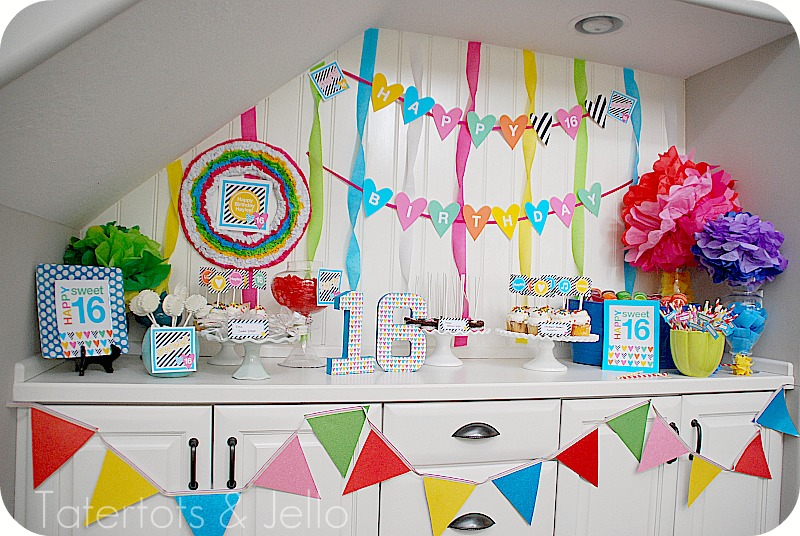 Sweet 16 party plus make a photo booth and a paper lantern chandelier