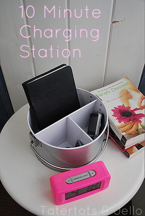 Make A Electronic Charging Station From A Silverware Caddy