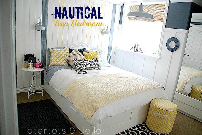 Nautical navy and white teen bedroom and 100 lowe 39 s gift card giveaway - Teen beach bedroom ideas ...