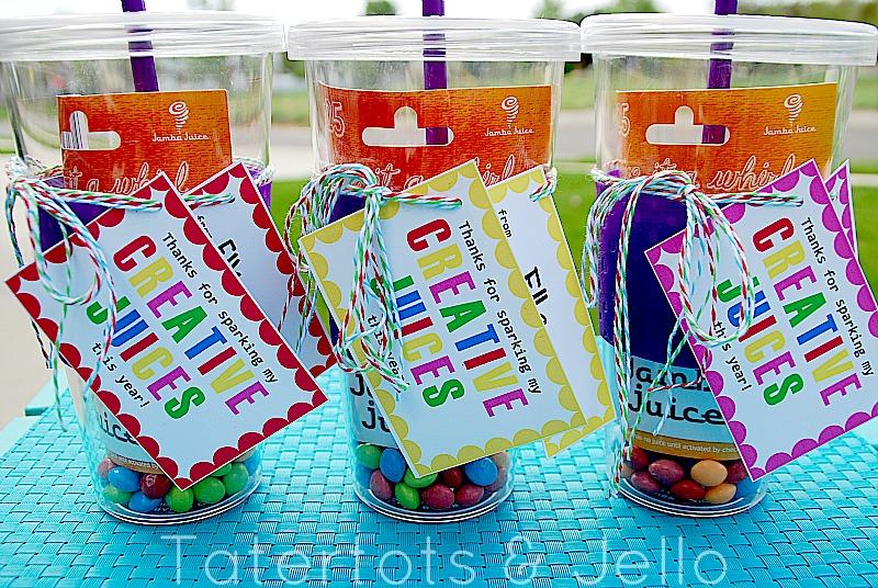"""""""Creative Juice"""" Teacher Appreciation Printable and Gift Idea!"""