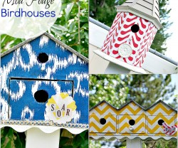 three mod podged birdhouses