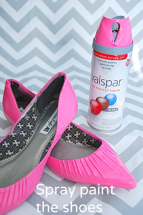 update old shoes with spray paint and jewelry