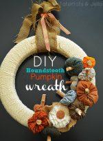 Make a Fall Houndstooth Plaid Pumpkin Wreath!