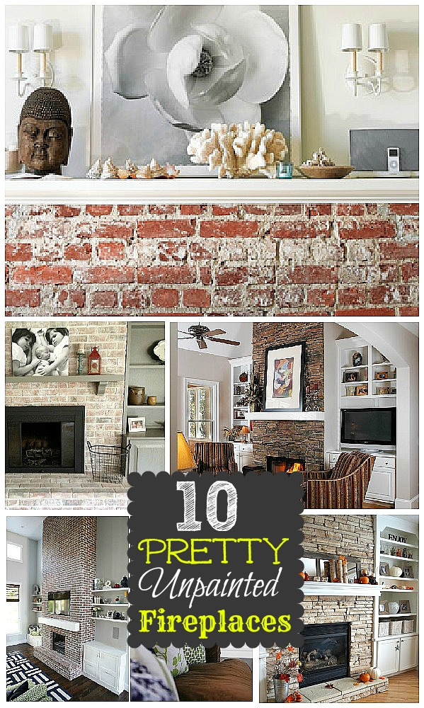 10 unpainted brick fireplace makeovers