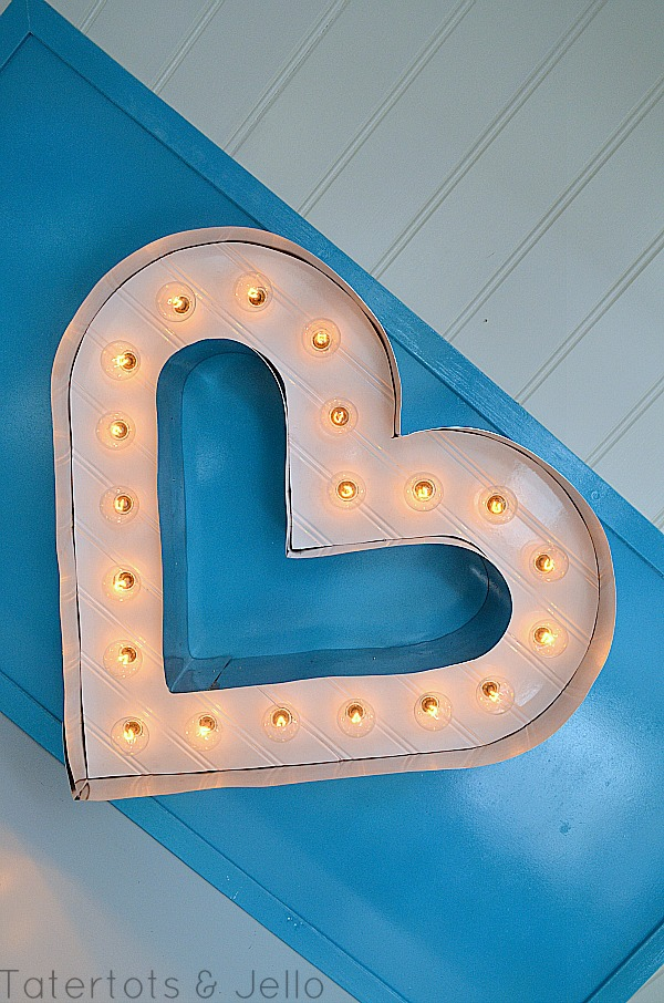 Beadboard And Metal Marquee Letter Heart Tutorial