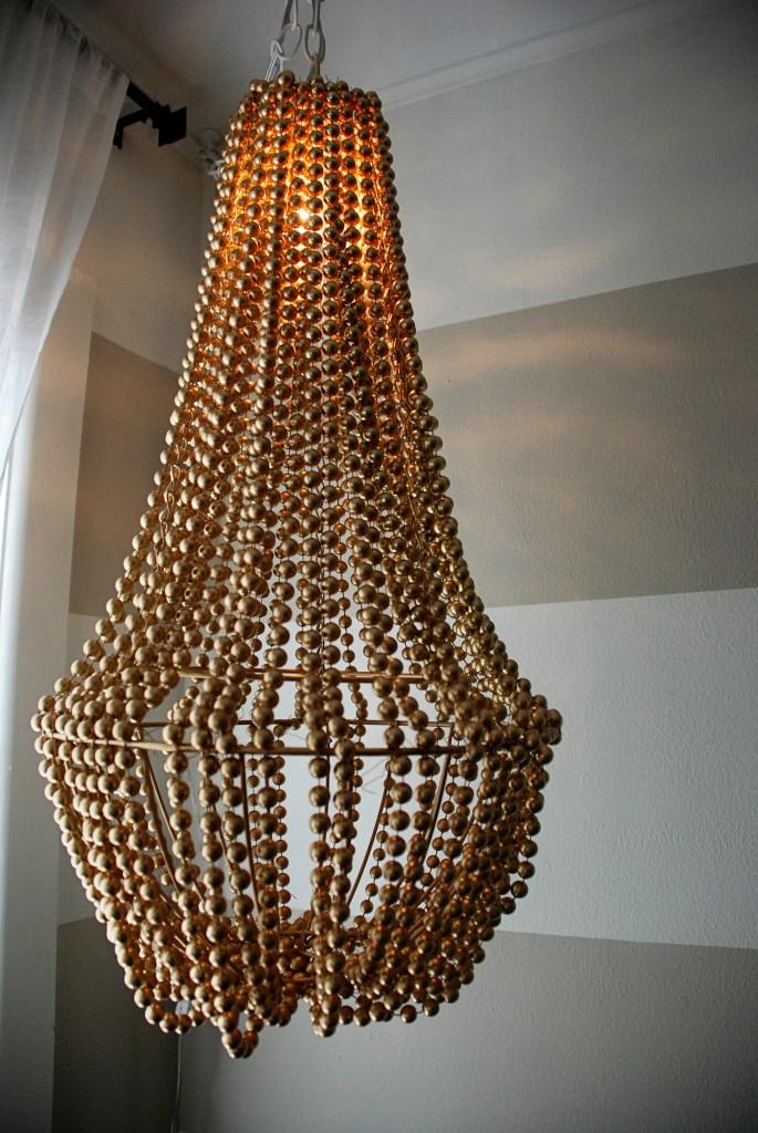 gold beaded chandelier