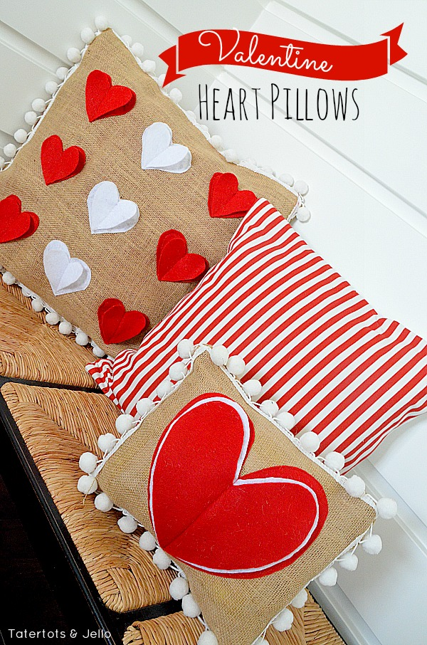 Pom Pom Heart Pillows