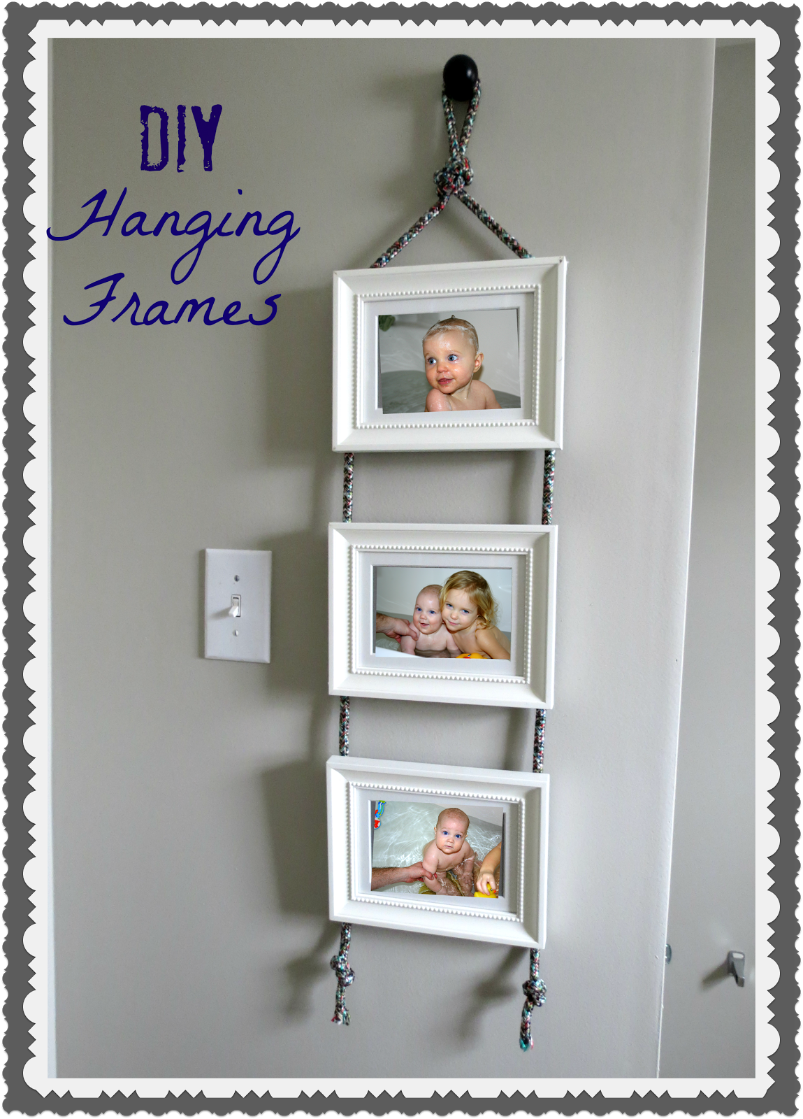 Diy hanging frames tutorial tatertots and jello - Wall hanging ideas ...