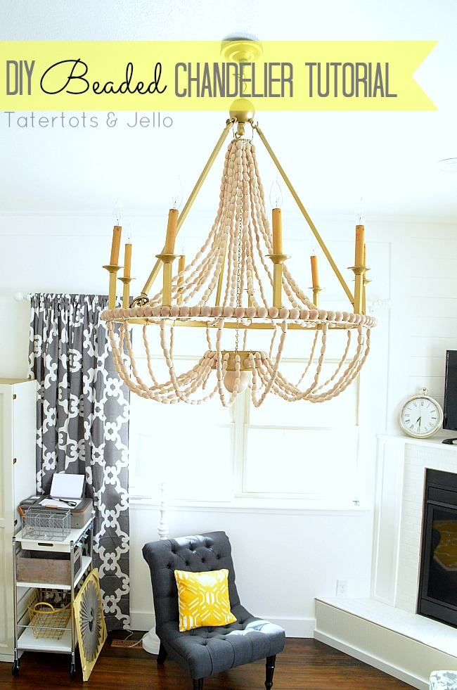 How to make a diy wood beaded chandelier tatertots and jello - Building a chandelier ...