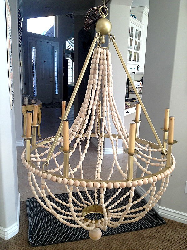 How to make a diy wood beaded chandelier tatertots for Build your own chandelier