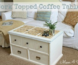 cork topped coffee table