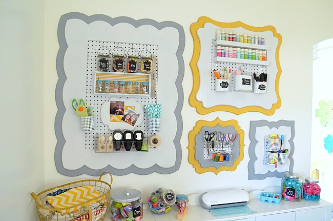 organizational craft office wall at Tatertots and Jello