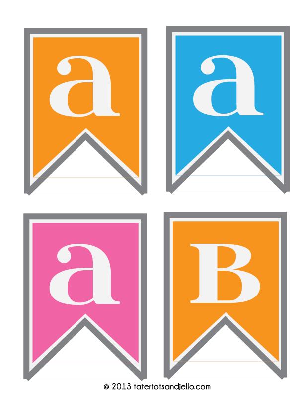 FREE Pink Blue And Orange Pennant Printables Tatertots Jello