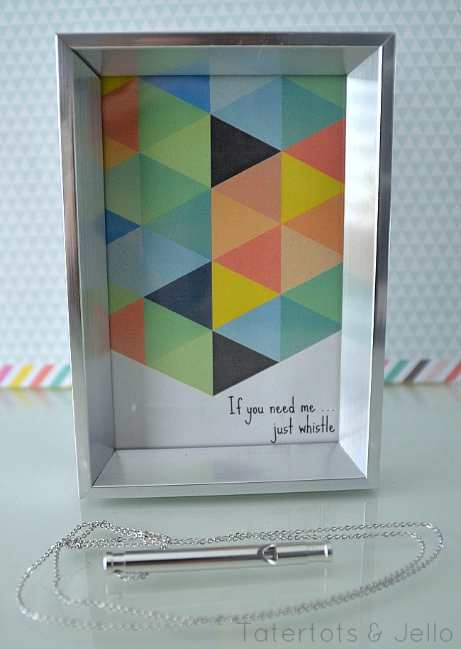 whistle printable at Tatertots and Jello