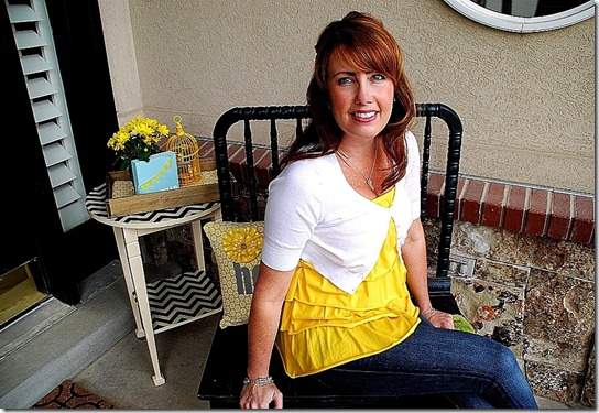 me on the porch with chevron side table