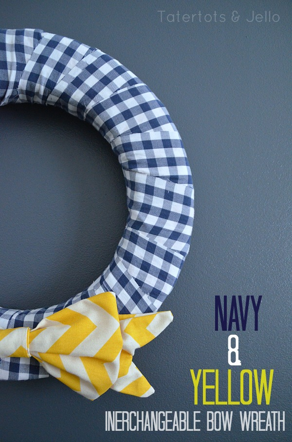 navy and yellow wreath