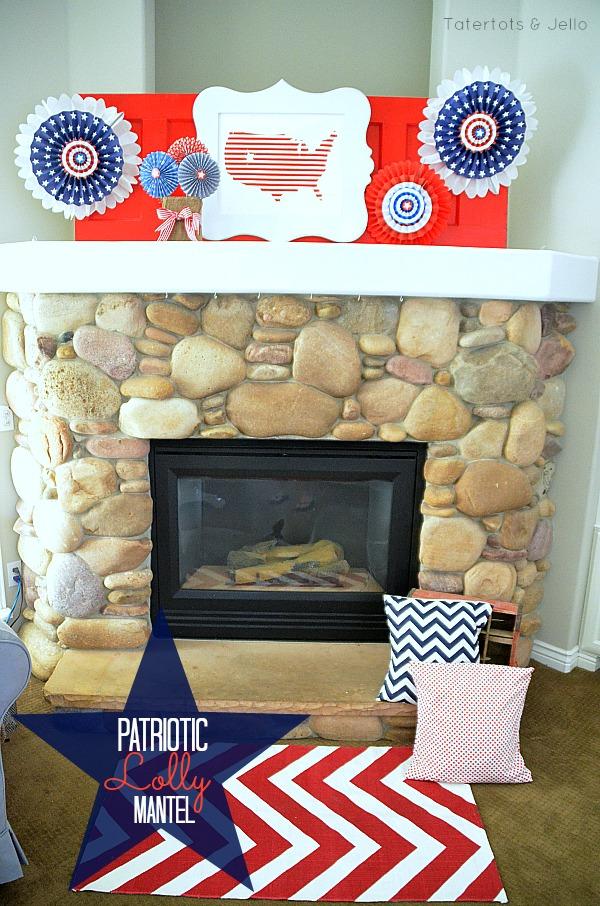 patriotic lolly mantel at tatertots & Jello
