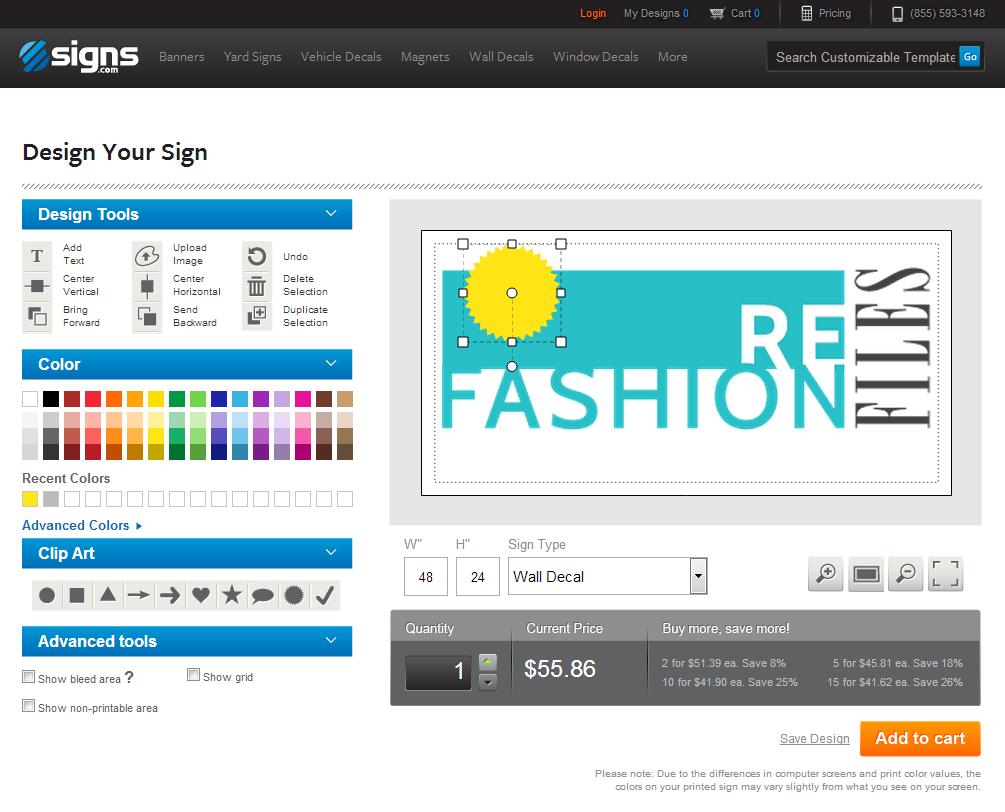signs.com editng screen
