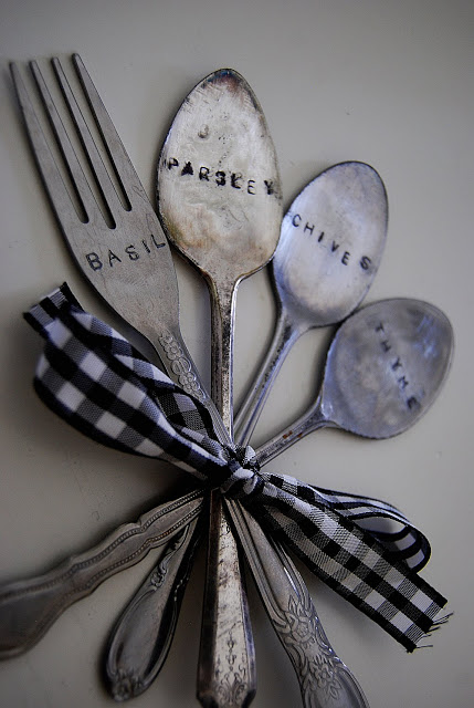 stamped garden markers out of old silverware