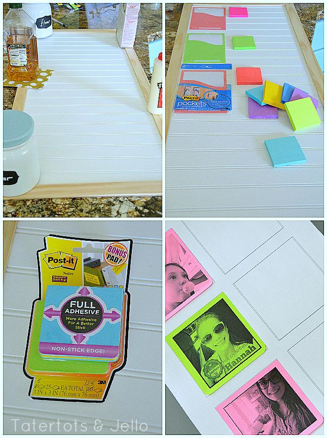 making the post-it chore chart board