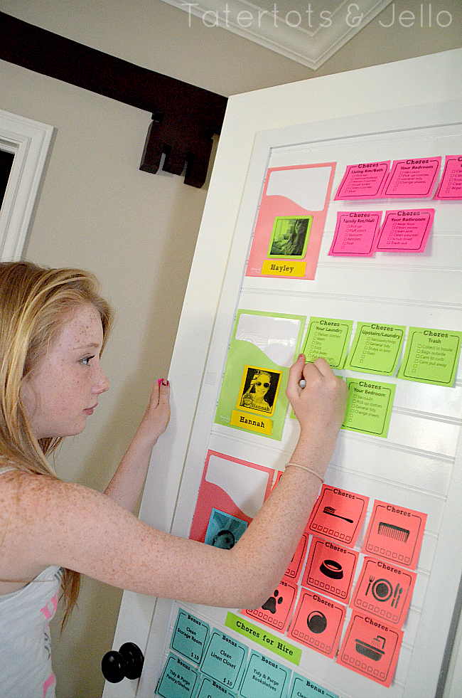 post-it note printable chore chart system
