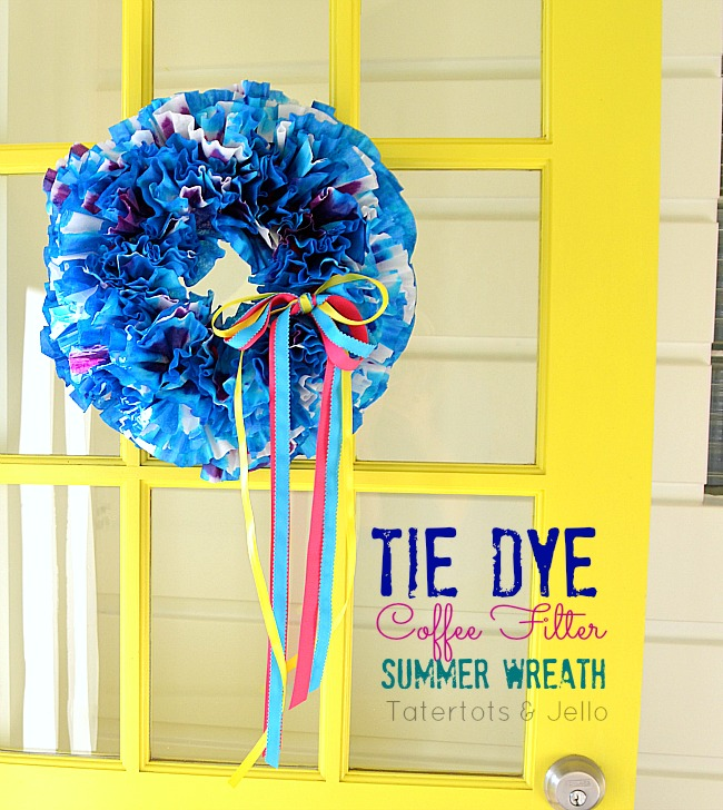 tie dyed coffee filter wreath