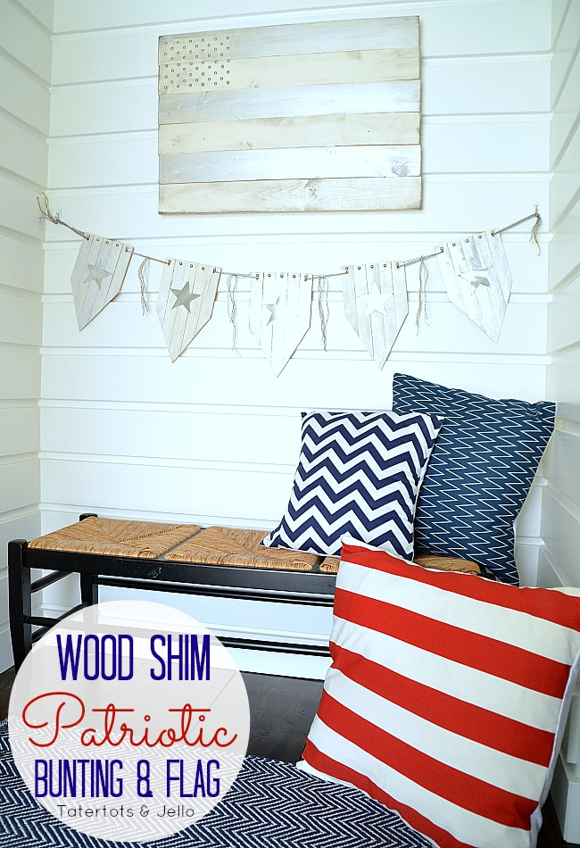 wood shim star garland and flag at tatertots and jello