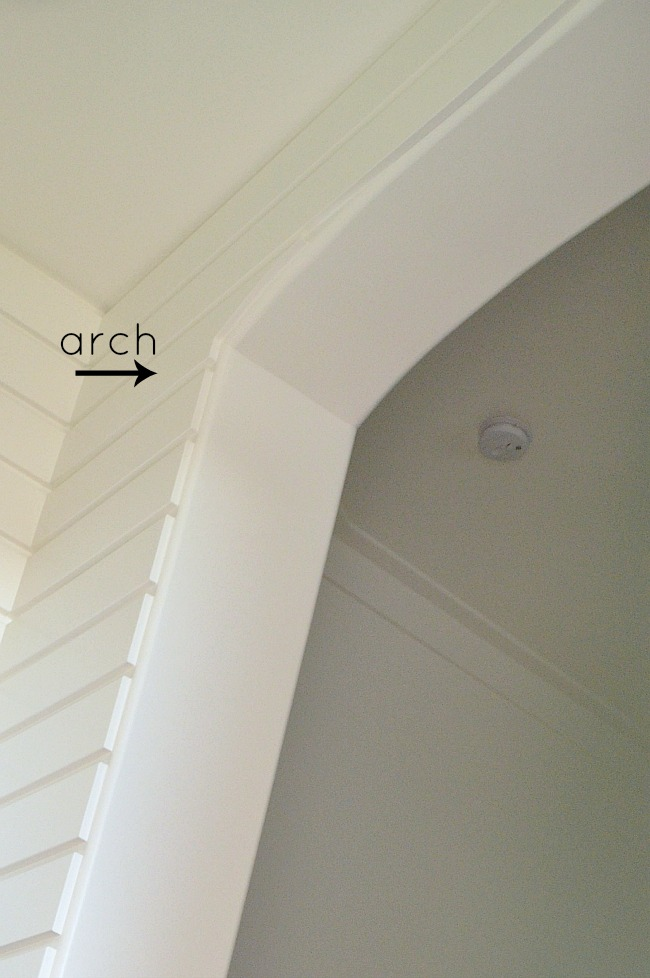 arch in modern planked wall