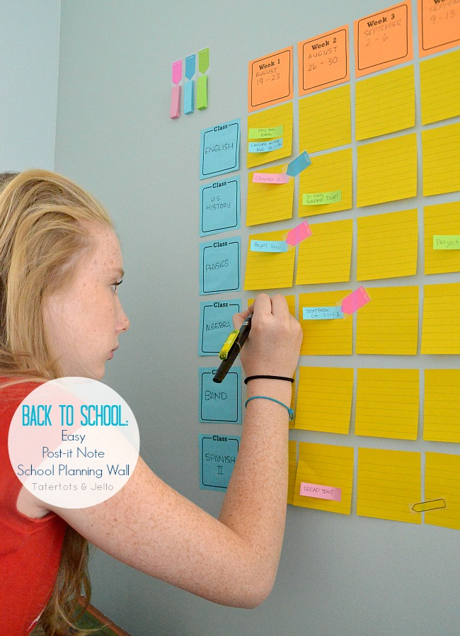 Home Organization Calendar System : Free printables easy post it note school planning wall