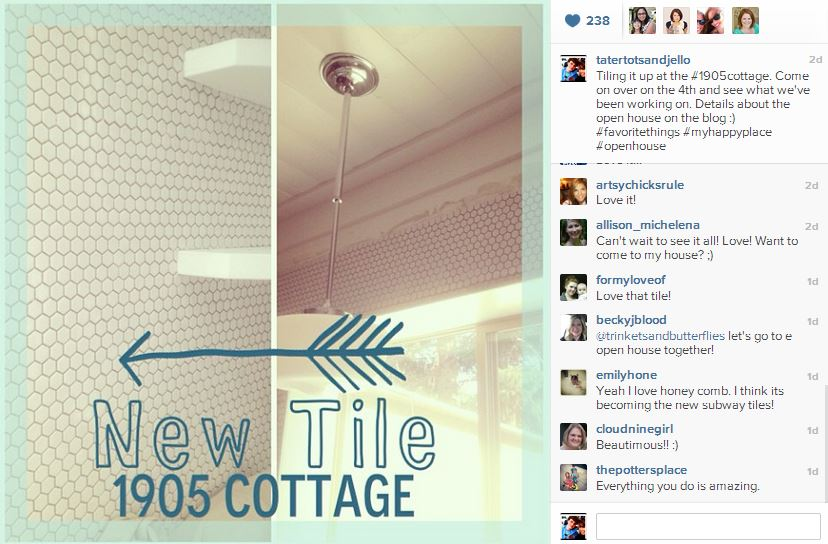 new tile at the 1905 cottage