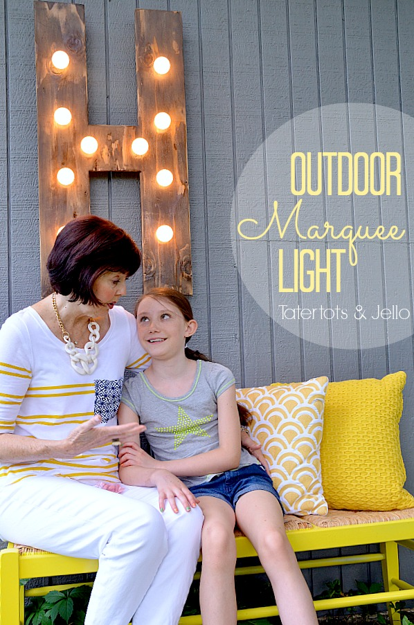 outdoor diy wood marquee light