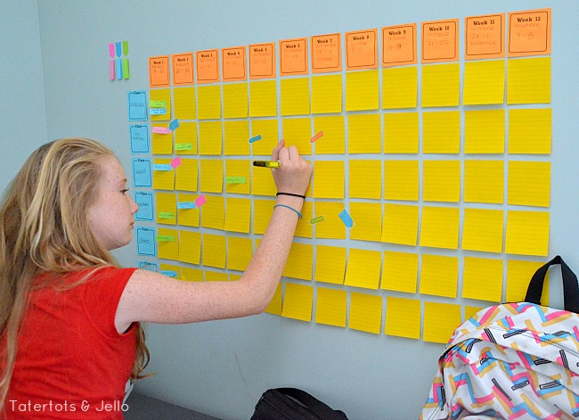 post it note study wall and tips