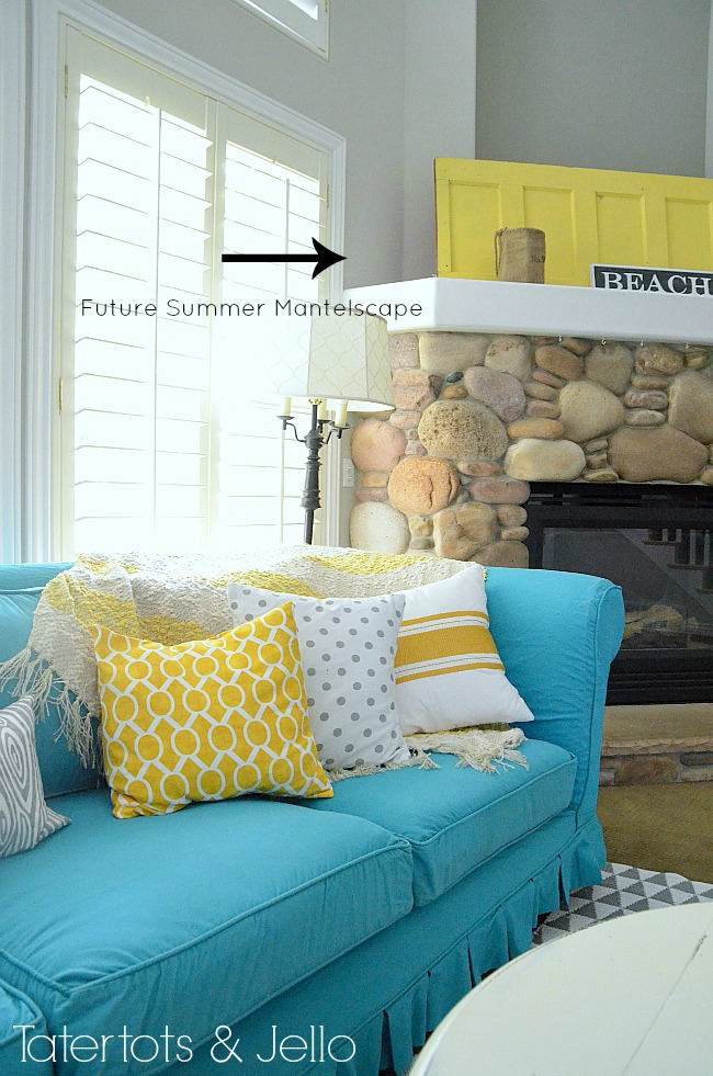 switching things up for summer with a turquoise slipcover tatertots and jello. Black Bedroom Furniture Sets. Home Design Ideas