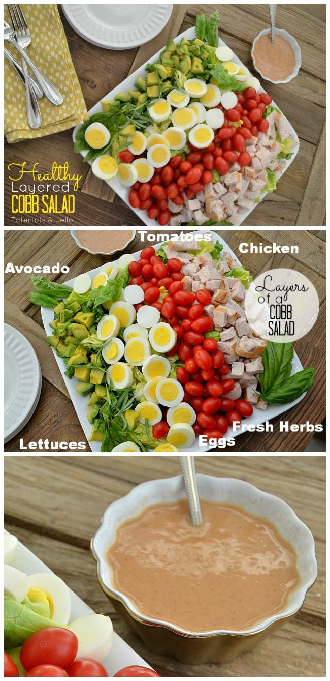 Layered Cobb Salad with Homemade Vinaigrette Salad Dressing