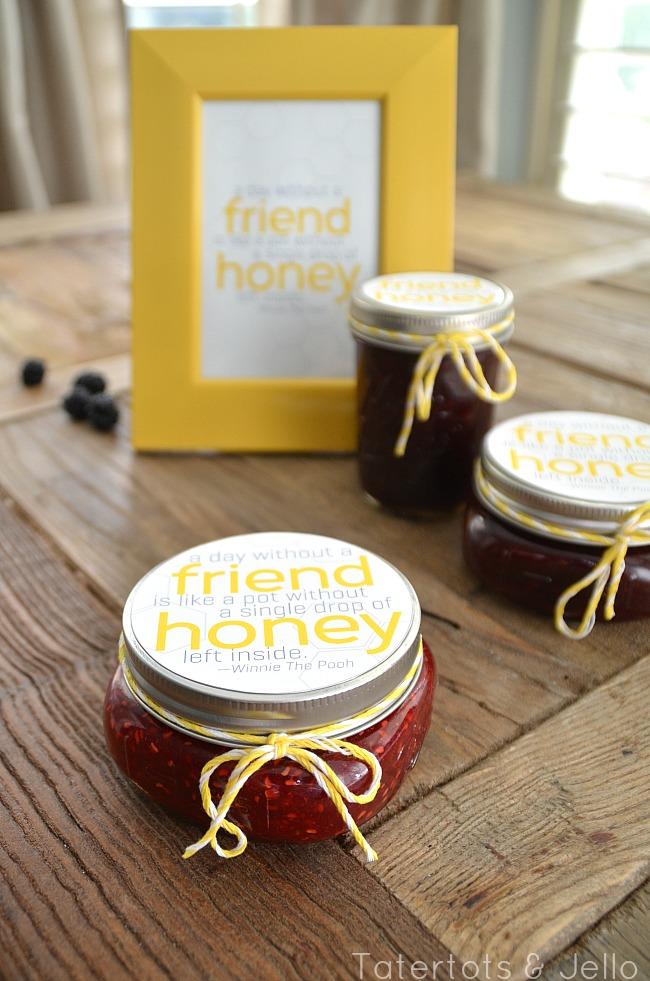 raspberry honey neighbor gift and printable