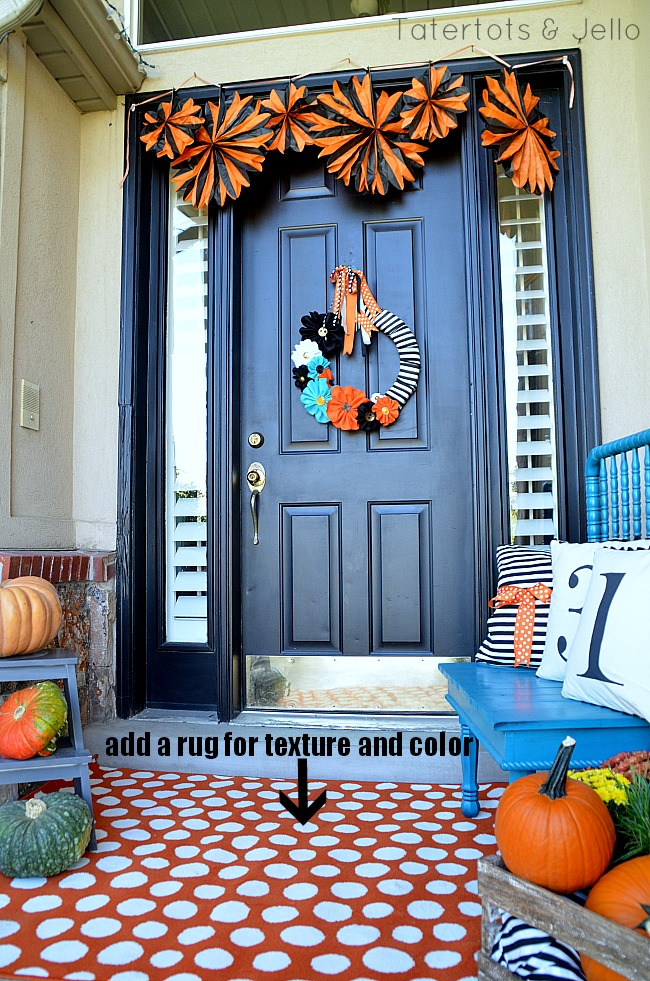 add a rug to the fall porch