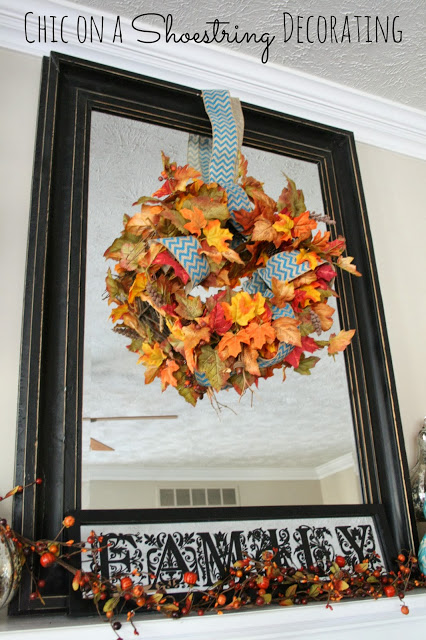 chevron and leafs wreath