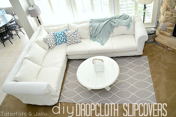 make a dropcloth sofa sectional slipcover tatertots and jello. Black Bedroom Furniture Sets. Home Design Ideas