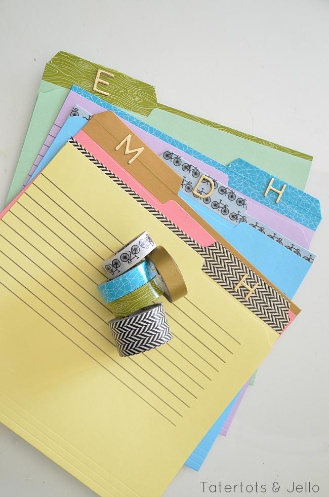 file folder redo with washi tape