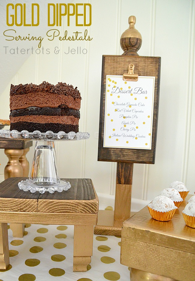 gold dipped serving pedestals for holiday entertaining