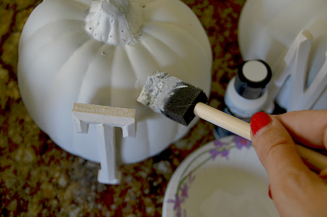 painting the pumpkins